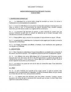 Reglement Mediatheque