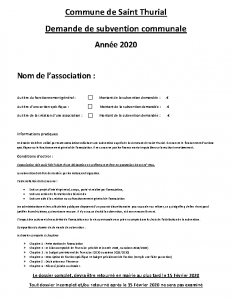 Dossier de demande de subvention Commune de Saint Thurial 2020