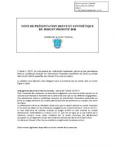 NOTE DE PRESENTATION BP 2020