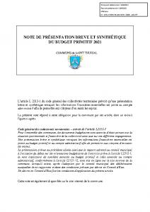 COMMUNE ANNEXE -NOTE PRESENTATION BP2021