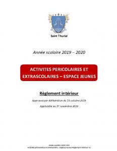 2019-2020 Règlement intérieur-Périscolaire et extrascolaire – V2