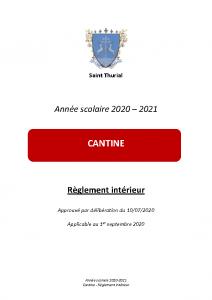 2020-2021 Règlement cantine