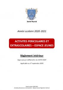 2020-2021 Règlement 2020-2021 Règlement Périscolaire et extrascolaire