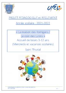 Projet pédagogique et règlement – La maison des Korrigans – Le coin des Lutins (3-12 ans)